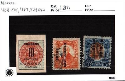 Mexico Stamp Lot Scott 408 MH, 427-428 Used Low Combined Shipping