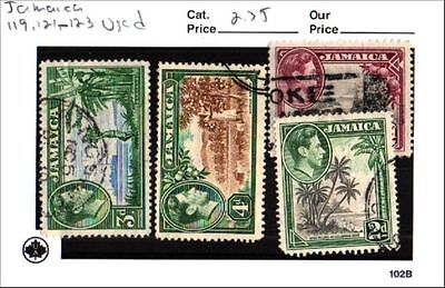 Jamaica Stamp Lot Scott 119, 121-123 Used Low Combined Shipping