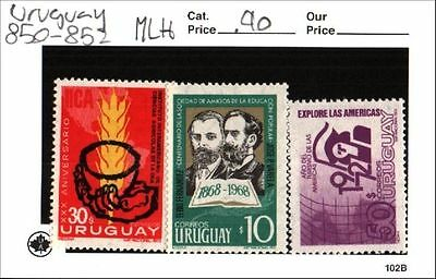 Uruguay Stamps Lot Scott 850 - 852 MLH Low Combined Shipping