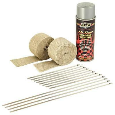 "DEI 901331 Exhaust Wrap Kit 2""x15ft S/Steel Lock Ties Aluminum HT Sil/Spray"