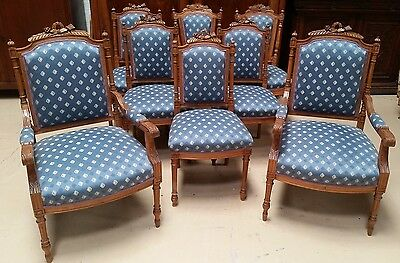 Set of 8 Antique French Louis XVI Walnut Chairs 2 armchairs, 6 side chairs EXCLT