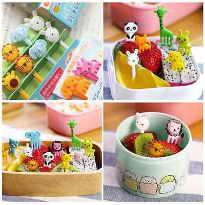 10pcs Kid Cartoon Animal Food Fruit Pick Fork Bento Lunch Box Decor Accessories