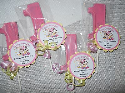 12 Disney Baby Minnie Mouse Gourmet 1st Birthday Party Favors and custom tags