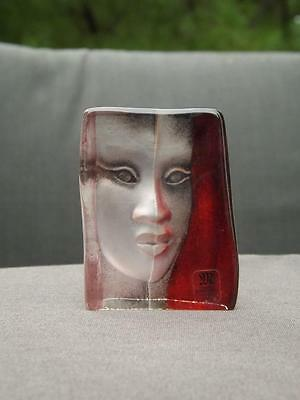 Mats Jonasson Mazzai Masqot Paperweight Full Lead Crystal Face Signed Labeled