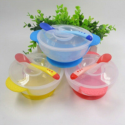 1 Set Baby Suction Bowl Color Changing Spoon Feeding Tableware Glamorous