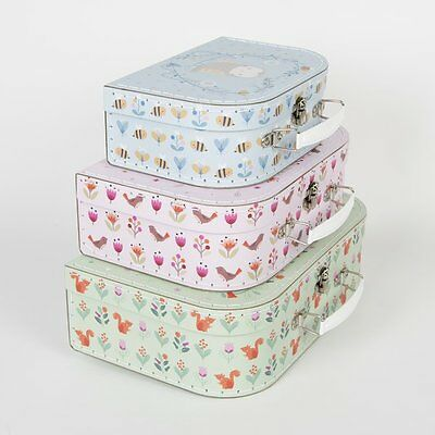 New SASS AND BELLE SET OF 3 WOODLAND FRIENDS  Design Cardboard Suitcases