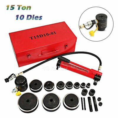 15Ton 10 Dies Hydraulic Knockout Punch Driver Kit Hand Pump Hole Tool Metal Case