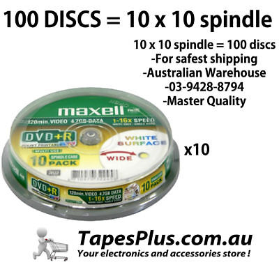 100 Master quality Printable DVD+R 100 4.7Gb 16X Blank Recordable Discs Spindle