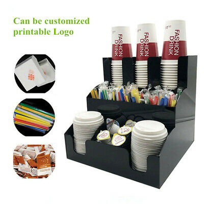 NEW Cup & Lid Dispenser Organizer Coffee Condiment Holder Caddy Coffee Cup Rack