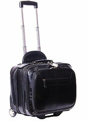 Genuine Leather Pilot case Hand Cabin Weekend Business Travel Trolley Bag Black