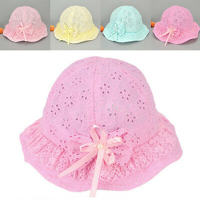 HOT Flower Cute New Kids Hat Cap Baby Bow Sun Bucket Mesh Summer Cotton Girls