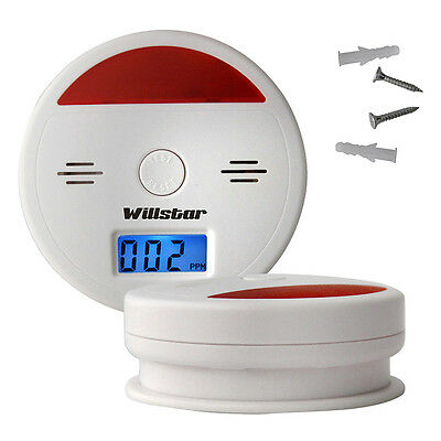 2x LCD Carbon Monoxide Detector Positioning Sensor Gas Fire Warning Safety Alarm