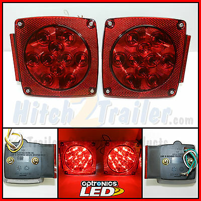 """Submersible LED Combination Trailer Tail Lights Stud Mount, Marine, Under 80"""""""