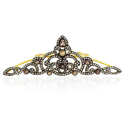 3.4 ct Slice Diamond Sterling Silver Antique Look Tiara Women's Gift Jewellery