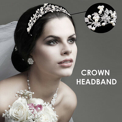 Silver Wedding Bridal Princess Crystal Rhinestone Prom Hair Tiara Crown Headband