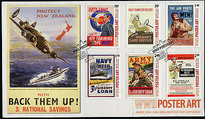 New Zealand 2014 FDC First Day Cover WW II POSTER ART