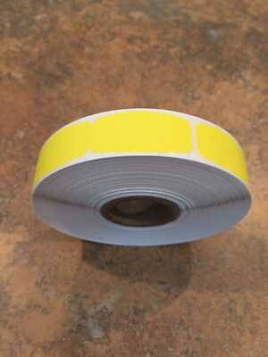 ".625"" x 1.25"" blank YELLOW LABELS 1000 PER ROLL GREAT STICKERS"