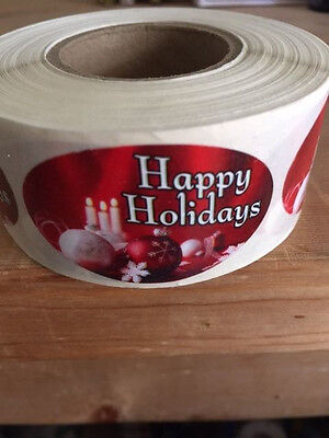 "1.25"" x 2"" HAPPY HOLIDAYS C&O LABELS 500 PER ROLL GREAT STICKERS"