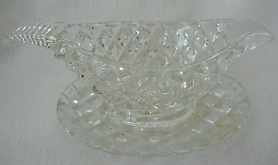 A Vintage Pressed Glass Cream / Mint Sauce Boat & Stand  Jug Creamer