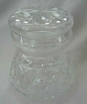 A Lovely Heavy Cut Glass Crystal Vanity Pot With Lid - Signed Maker