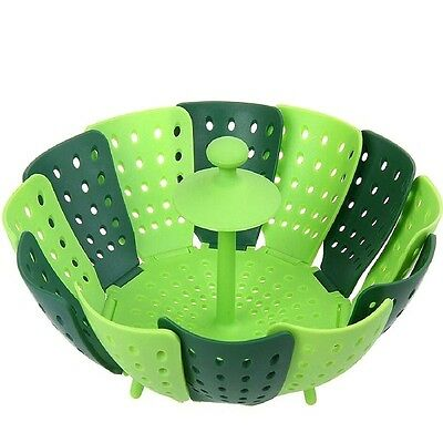 Silicone Folding Non-scratch Food Cooking Steamer Fruit Vegetable Basket Tools