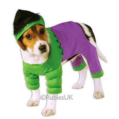 Pet Dog Green Hulk Costume Rubies Fancy Dress Avengers Outfit Superhero S-XL