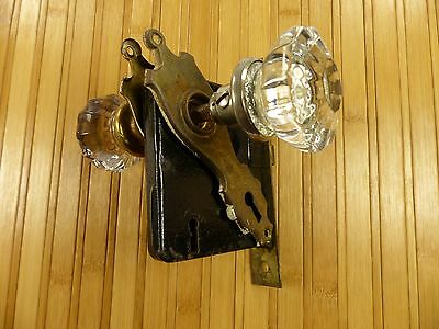 Antique Vintage Mortise Lock Door Latch Two Glass Knobs Brass Hardware Deco