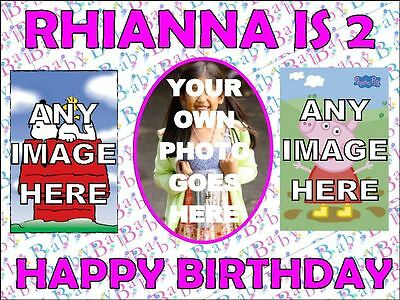 """A4 PIC COLLAGE CAKE TOPPER 7.5x10"""" PERSONALISE Your Own Photo Icing Sheet"""
