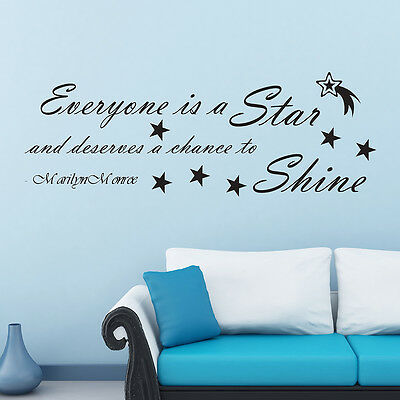 Everyone Is A Star Marilyn Monroe Wall Decal Pick Size And Color Celeb Quote