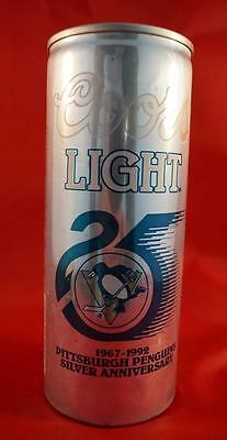 Vintage Coors 16 oz Beer Can 1992 Pittsburgh Penguins Silver Anniversary