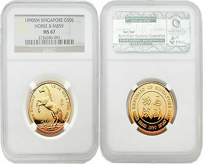 Singapore 1990 Year of Horse 1/2 oz Gold NGC MS67