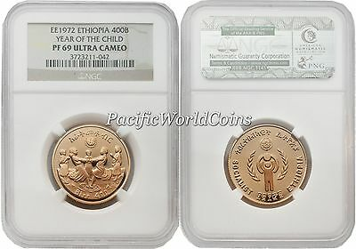 Ethiopia 1972 Year of Child 400 Birr Gold NGC PF-69 ULTRA CAMEO