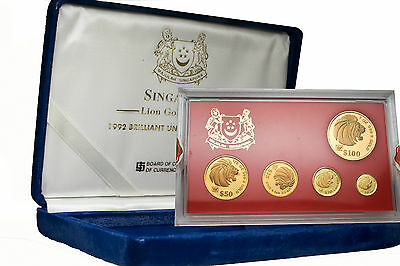 Singapore 1992 Lion 5-Pc Gold Bu Set With Box