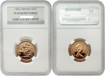 Great Britain 1983 Sovereign Gold NGC PF69 ULTRA CAMEO