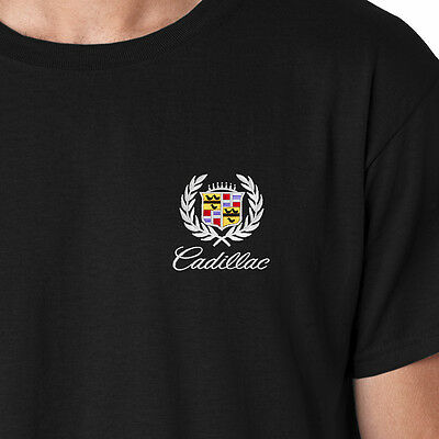 CADILLAC Classic Crest Logo Only Embroidered Car Auto T-Shirt Tee Shirts