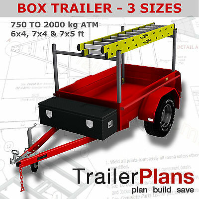 Trailer Plans - BOX TRAILER PLANS - 3 sizes - 6x4, 7x4, 7x5ft - PLANS ON CD-ROM