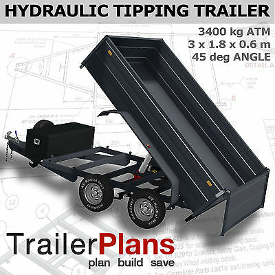 TrailerPlans - 3400KG HYDRAULIC TIPPING TRAILER PLANS - 10x6ft - PLANS ON CD-ROM