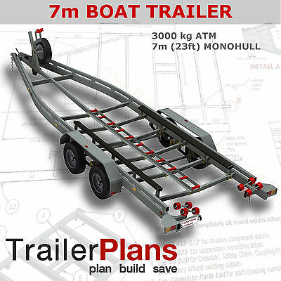 Trailer Plans - BOAT TRAILER PLANS - 7m(21ft) Monohull -PLANS ON USB Flash Drive