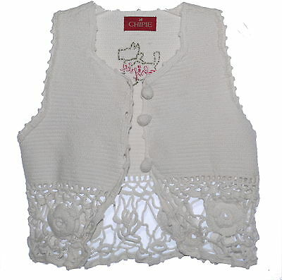 Chipie Girls Crochet  Summer Waistcoat Cardigan Unbleached White NWT Clearance