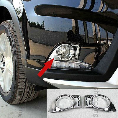 2X Chrome Front Fog Light Cover Trim Molding For Toyota Highlander Kluger 14-15