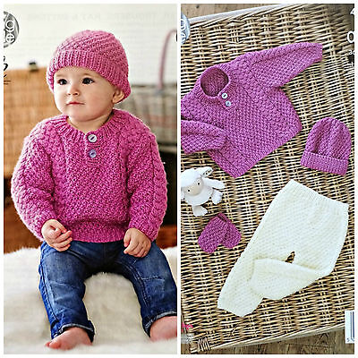 Baby KNITTING PATTERN Babies Cable Jumper Trousers Mitts& Hat Aran KingCole 4645