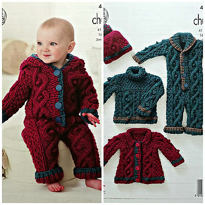 Baby KNITTING PATTERN Babies Cable Jumper AllInOne Coat Hat Chunky KingCole 4558