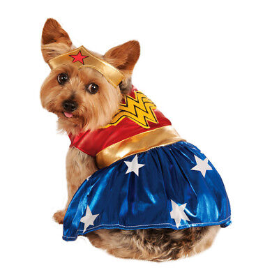 Pet Dog Wonder Woman Fancy Dress Costume Superhero Outfit S-XL
