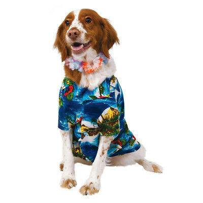 Dog Pet Hawaiian Shirt & Lei Fancy Dress Costume Beach Party Outfit S-XL