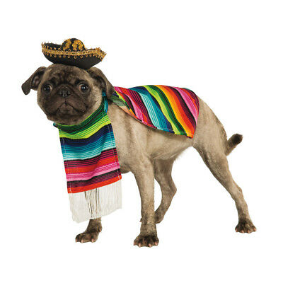 Dog Pet Mexican Fancy Dress Costume Poncho & Sombrero Outfit S-XL