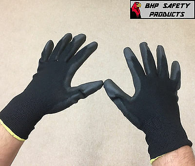 12 Pairs Black Nylon PU Safety Work Gloves Builders Grip Palm Coating Gloves