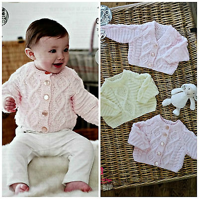 Baby KNITTING PATTERN Babies Cable Jumper and Cardigans Aran King Cole 4643