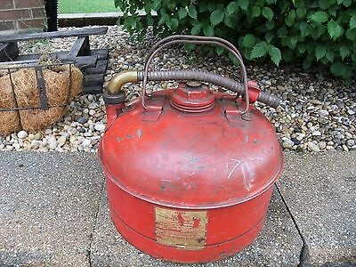 Vintage Eagle Rare 2 Handled Metal Red Gas Can 2 1/2 Gallons