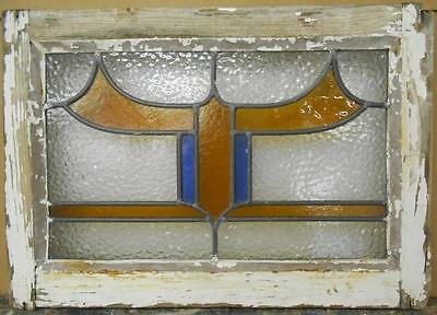 "OLD ENGLISH LEADED STAINED GLASS WINDOW Pretty Abstract Design 21.25"" x 15"""