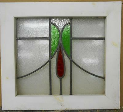 "OLD ENGLISH LEADED STAINED GLASS WINDOW Floral Droop Design 21.25"" x 19"""